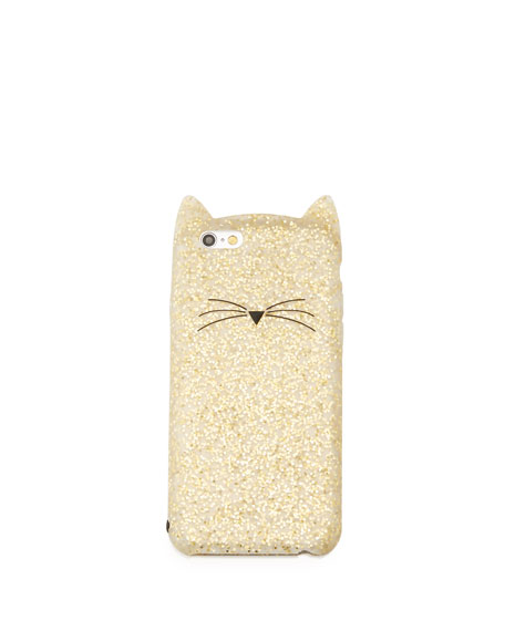 glitter cat iPhone 6/6s case, gold glitter
