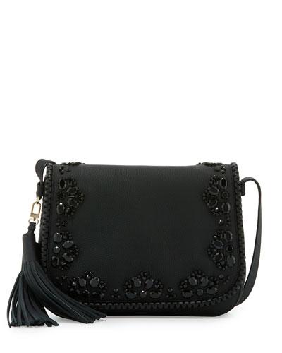 anderson way lietta leather crossbody bag, black