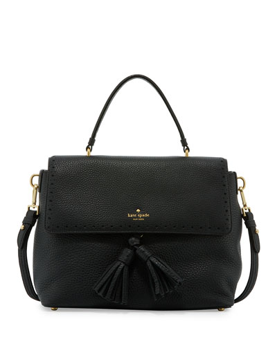 james street sparrow leather satchel bag, black
