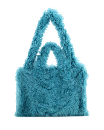 Shearling Fold Shopper Tote Bag, Blue