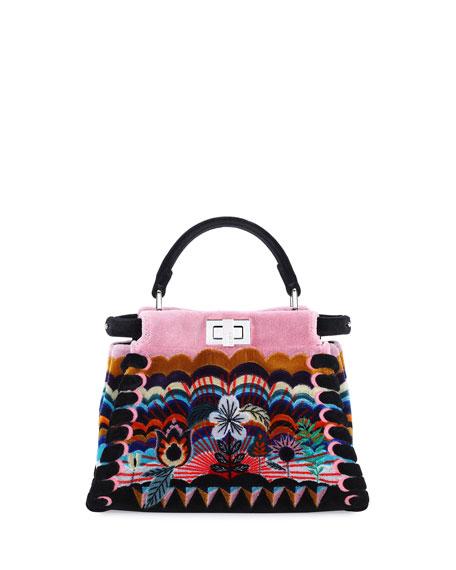 Fendi Peekaboo Mini Embroidered Velvet Bag, Black Multi