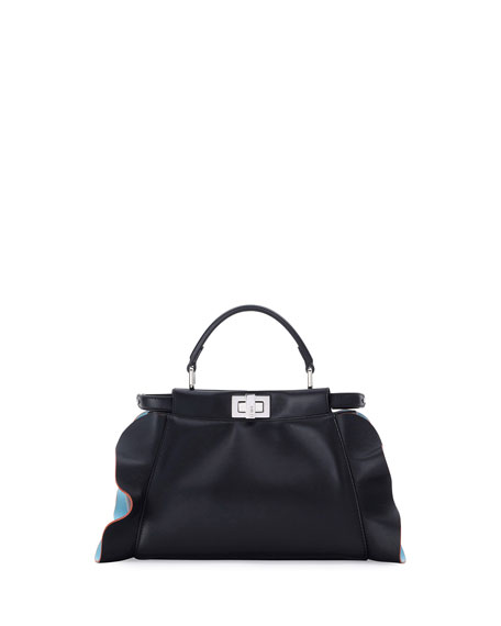 Fendi Peekaboo Mini Wave Leather Satchel Bag, Black/Turquoise