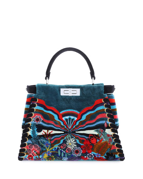 Fendi Peekaboo Medium Embroidered Velvet Bag, Black Multi