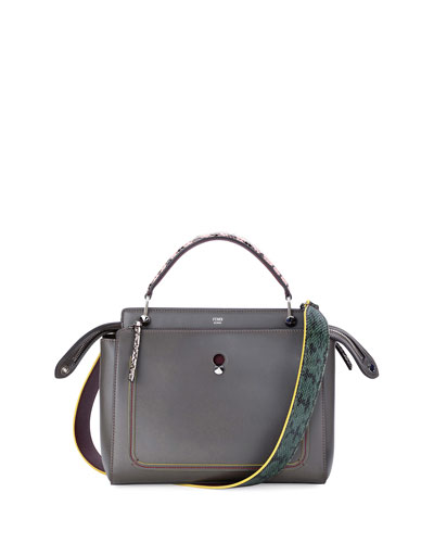 DOTCOM Medium Snake-Strap Satchel Bag, Dark Gray