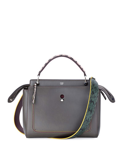 DOTCOM Medium Snake-Strap Satchel Bag, Navy