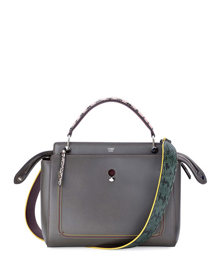 Fendi DOTCOM Medium Snake-Strap Satchel Bag, Navy