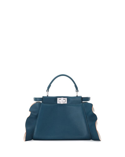 Peekaboo Mini Wave Leather Satchel Bag, Teal