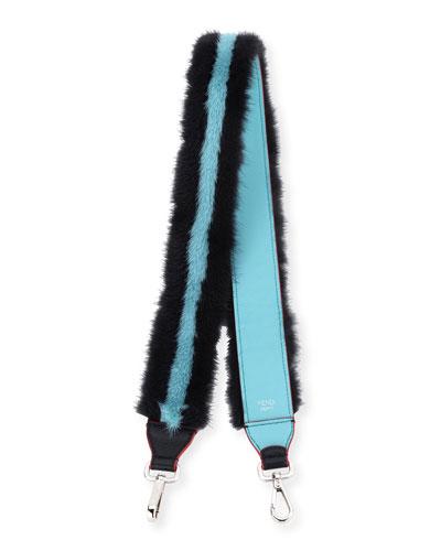 Mink Fur Stripe Shoulder Strap for Handbag, Black/Blue