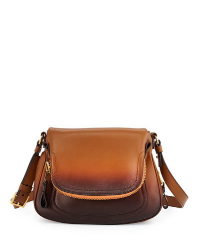 Jennifer Medium Shaded Leather Shoulder Bag, Cognac Ombre