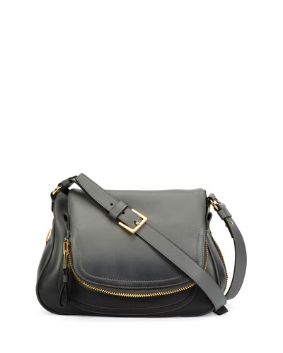 Jennifer Medium Shaded Leather Shoulder Bag, Gunmetal