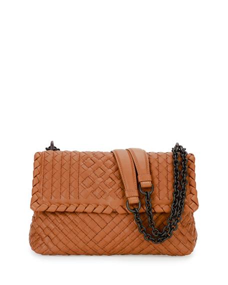 Olimpia Small Intrecciato Shoulder Bag, Camel