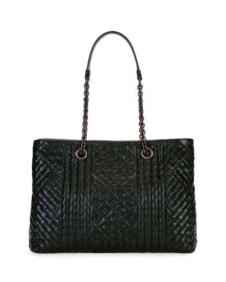Bottega Veneta Intrecciato Medium Double-Chain Tote Bag, Black