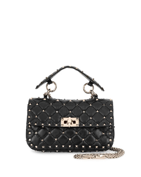 Valentino Garavani Rockstud Quilted Small Shoulder Bag, Black