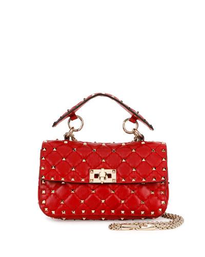 Rockstud Matelassé Small Shoulder Bag, Red