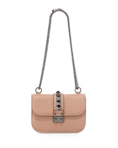 Lock Small Leather Shoulder Bag, Beige
