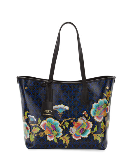 Liberty London Little Marlborough Paradise Tote Bag, Dark Blue