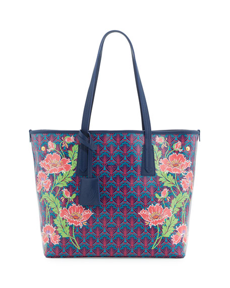 Liberty London Little Marlborough Poppies Tote Bag, Dark