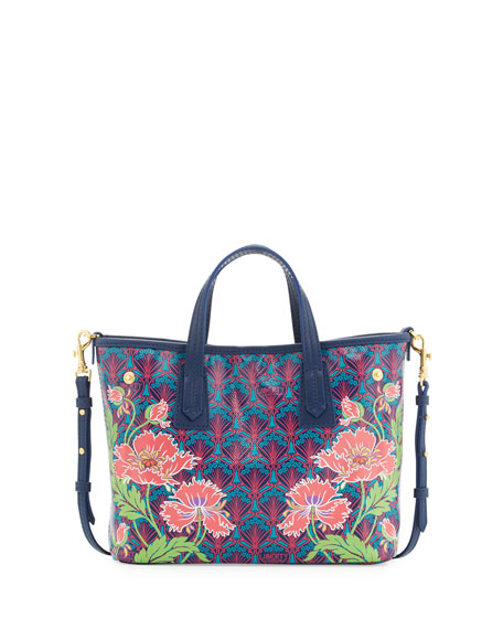 Liberty London Marlborough Poppies Mini Tote Bag, Navy