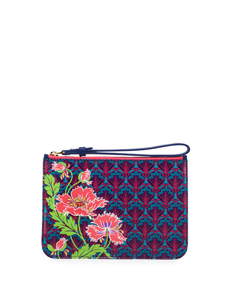 Liberty London Poppies Zip-Top Wristlet, Navy