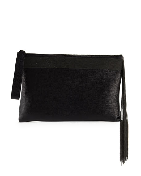Brunello Cucinelli Monili Fringe Wristlet Clutch Bag, Black