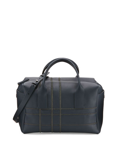 Medium Monili-Plaid Leather Satchel Bag, Navy/Black