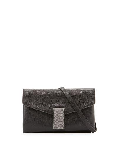 Mini Envelope Clutch Bag with Monili Closure, Black
