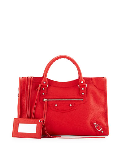 Classic City Calfskin Shoulder Bag, Red