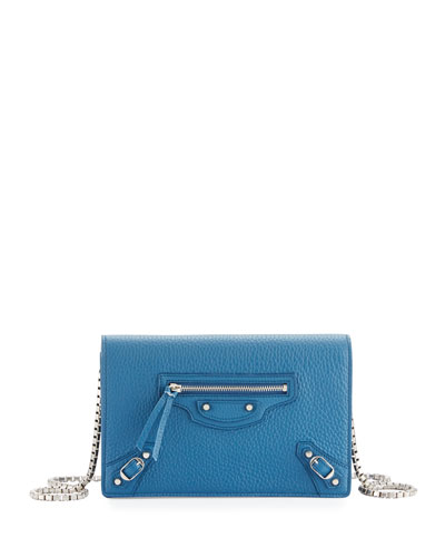 Classic Leather Wallet-on-Chain, Blue
