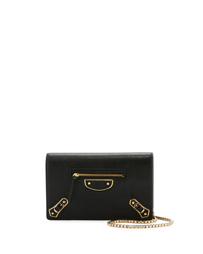 Metallic Edge Wallet-on-Chain, Black