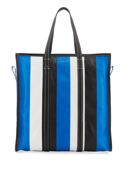 Bazar Medium Striped Leather Shopper Tote Bag, Bleu/Blanc/Noir