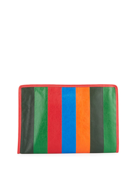 Bazar Striped Leather Pouch Bag, Multi (Multicolore)