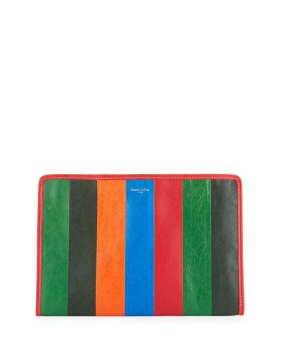Bazar Striped Leather Pouch Bag, Multi