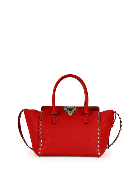Rockstud Rolling Small Double-Handle Tote Bag, Red