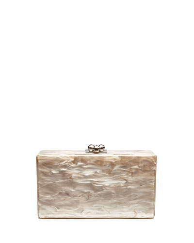 Jean Solid Acrylic Clutch Bag, Taupe