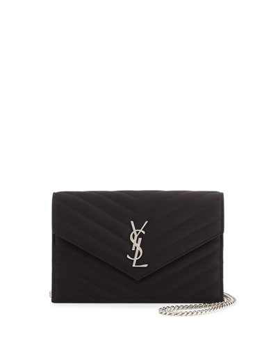 Monogram Satin Small Wallet-On-Chain Bag, Black