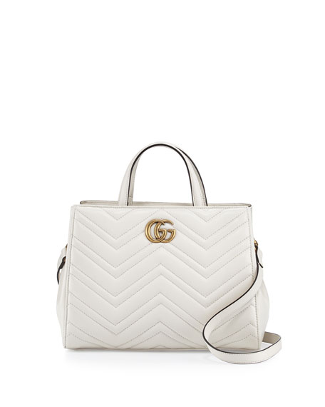 Gucci GG Marmont Small Matelassé Top-Handle Bag, White