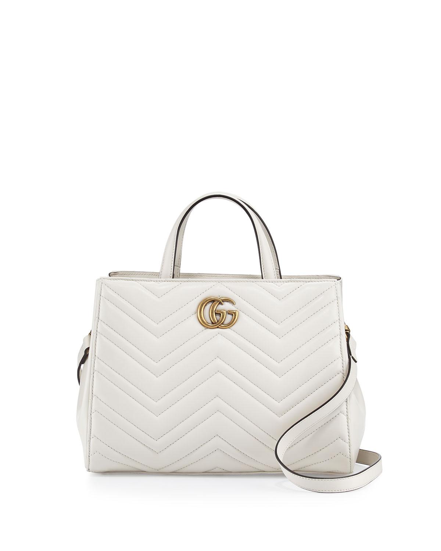 275526b24a4837 Gucci GG Marmont Small Matelassé Top-Handle Bag, White | Neiman Marcus