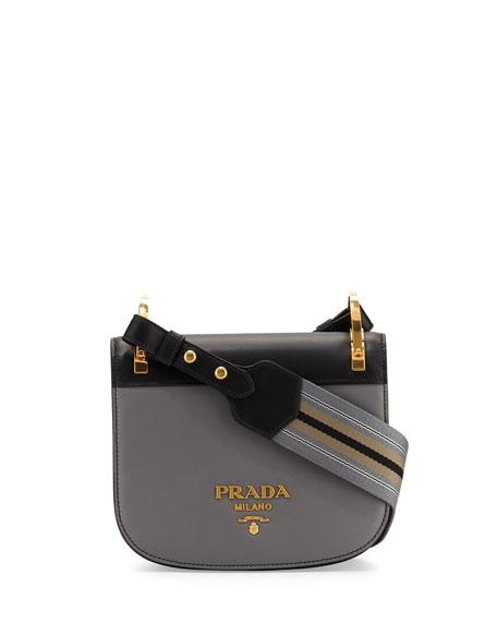Prada Pionni��re Web-Strap Shoulder Bag, Gray/Black (Marmo/Nero)