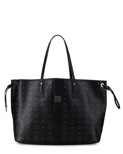 Liz Large Reversible Shopper Tote Bag, Black