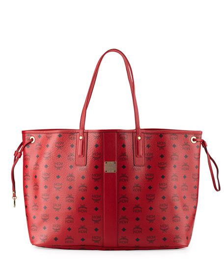 MCM Liz Large Reversible Shopper Tote Bag, Ruby
