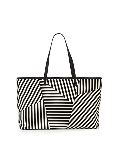 L.A.M.B. Idelia Striped Suede Tote Bag, Black/White