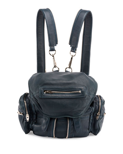Marti Mini Washed Lambskin Backpack, Petrol