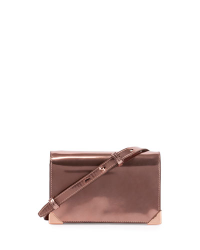 Prisma Specchio Leather Biker Purse, Rose Gold