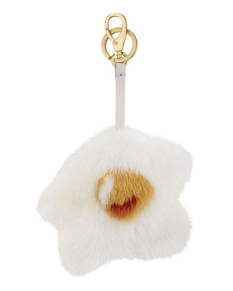 Anya Hindmarch Mink-Fur Egg Charm for Handbag, White