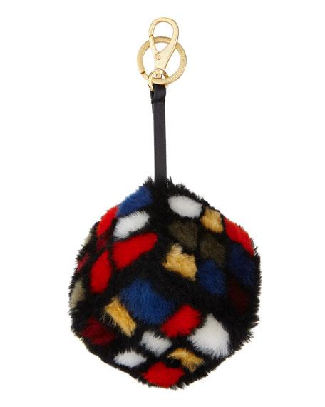 Anya Hindmarch Shearling Fur Rubik's Cube Charm, Multi