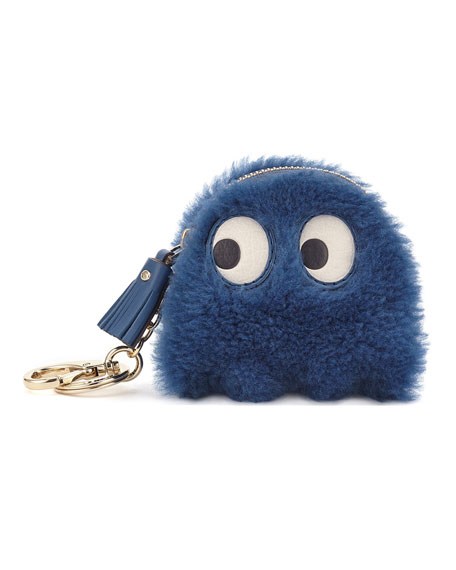 Shearling Ghost Coin Case, Blue