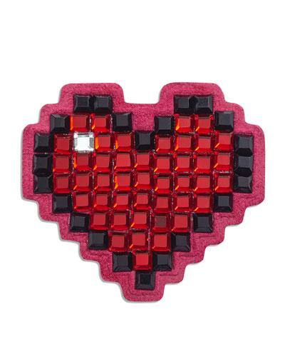 Heart Crystal Sticker for Handbag, Red