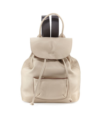Langley Leather Backpack, Bone