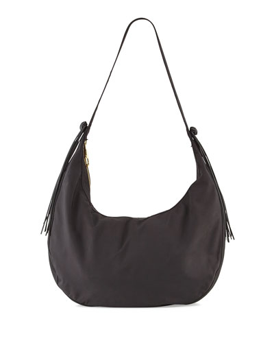 Zoe Large Nylon Hobo Bag, Black