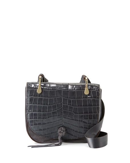 Zoe Crocodile-Embossed Saddle Bag, Putty